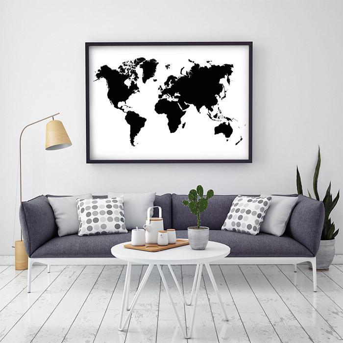 världskarta svart vit poster