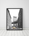 Poster Manhattan Bridge och Yellow Cab