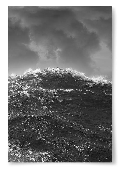 Poster Havsvåg Storm Svartvit
