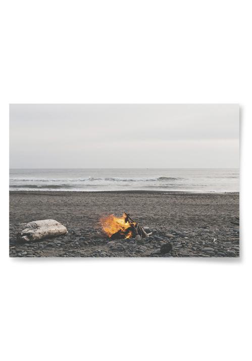 Poster Eld på Strand