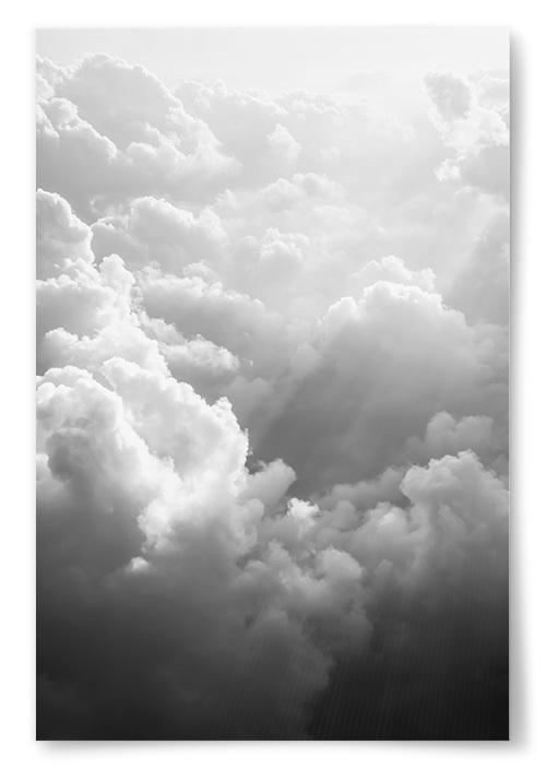 Poster Molnig Himmel Svartvit
