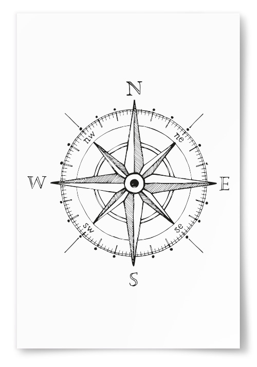 Poster Kompass Teckning
