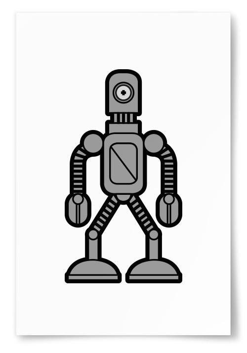 Poster Enögd Robot Grå