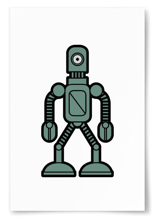 Poster Enögd Robot Gröngrå