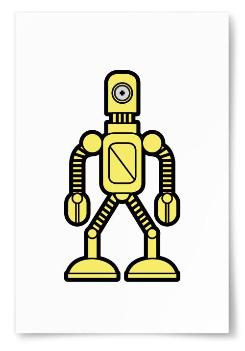 Poster Enögd Robot Gul