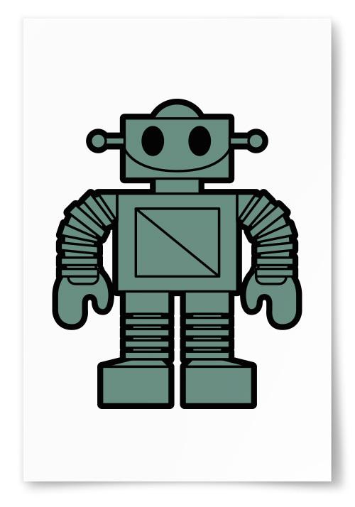 Poster Robot Gröngrå