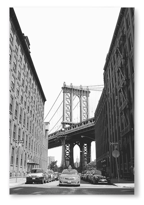 Poster Manhattan Bridge Svartvit