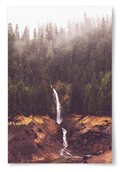 Poster Vattenfall i Skog
