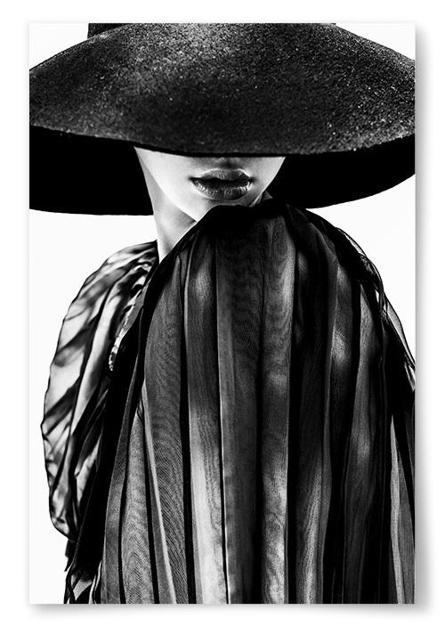Poster Elegant Kvinna Med Hatt