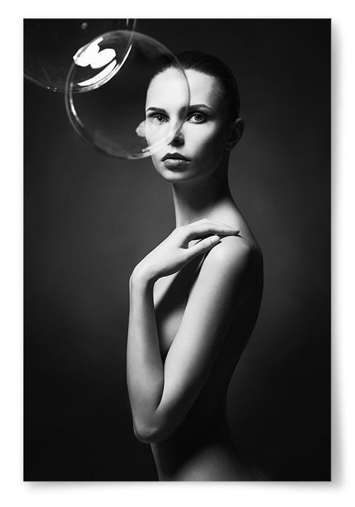 Poster Kvinna Bubblor