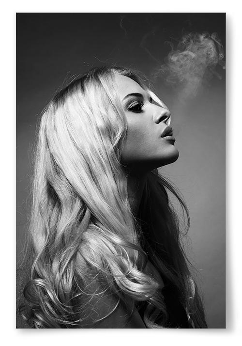 Poster Blond Kvinna Smoke