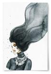 Poster Kvinna med Långt Svart Hår