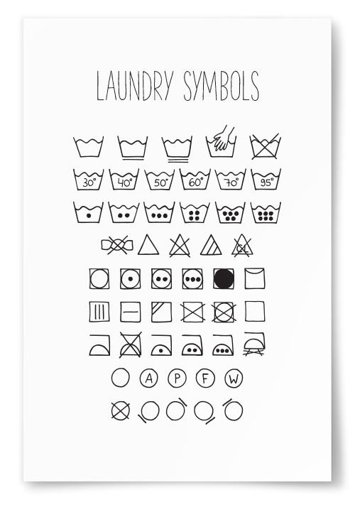 Poster Tvättsymboler