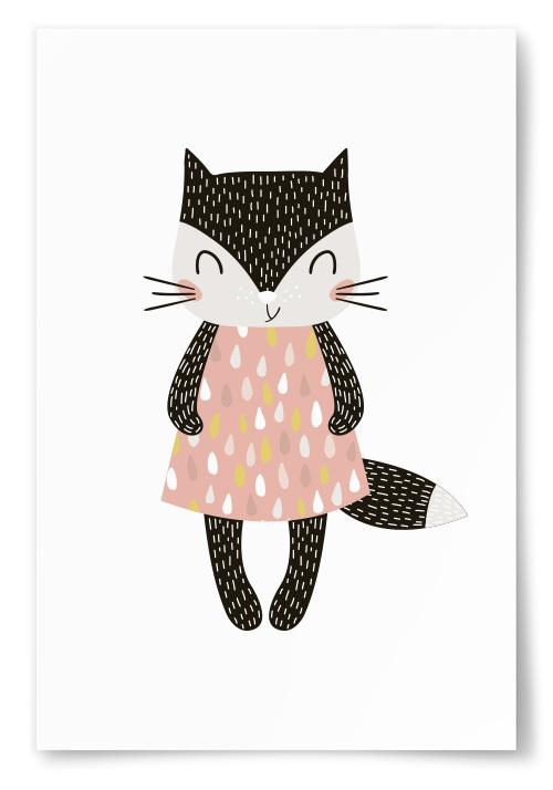 Poster Katt med Klänning