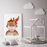 Poster Apa med Fjäder