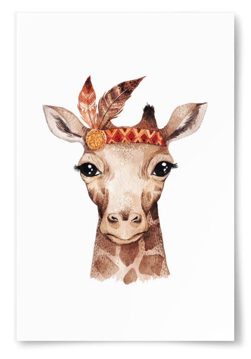 Poster Giraff med Fjäder