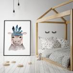 Poster Flodhäst med Fjäder