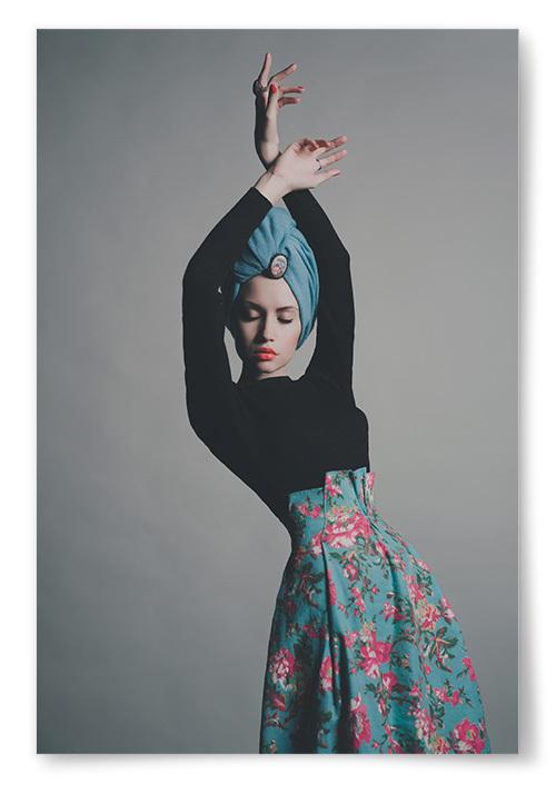 Poster Kvinna i Blå Turban