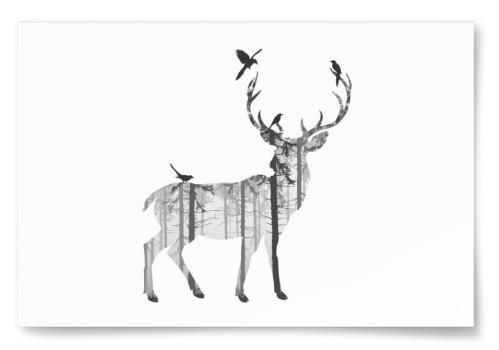 Poster Hjort Skogsilhuett Liggande
