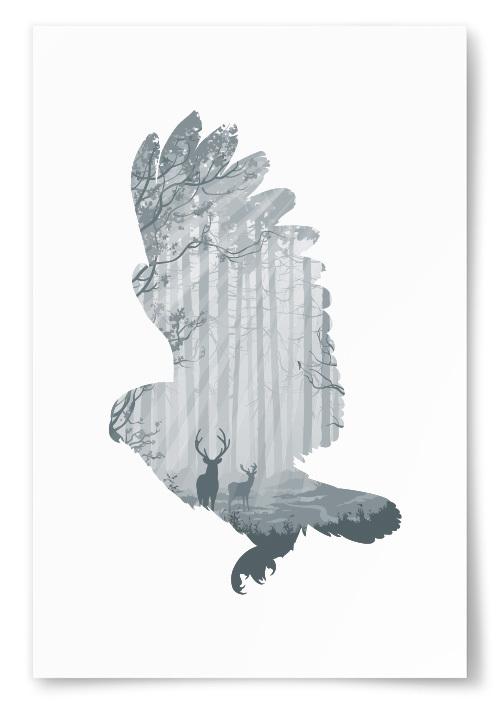 Poster Uggla Silhuett