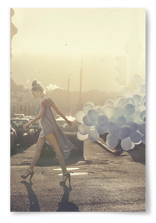 Poster Kvinna Ballonger