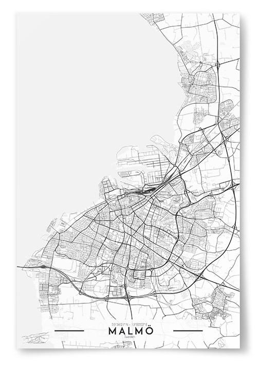 Poster Malmö Karta Svartvit