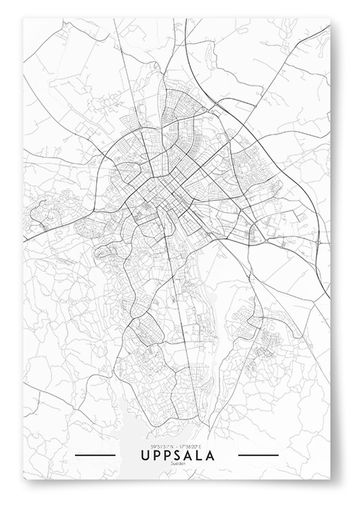 Poster Uppsala Karta Svartvit