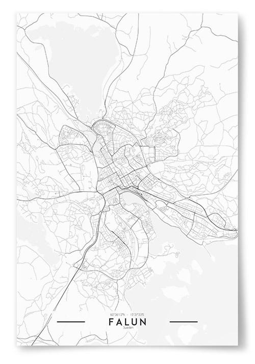 Poster Falun Karta Svartvit