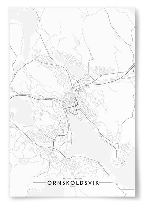 Poster Örnsköldsvik Karta Svartvit