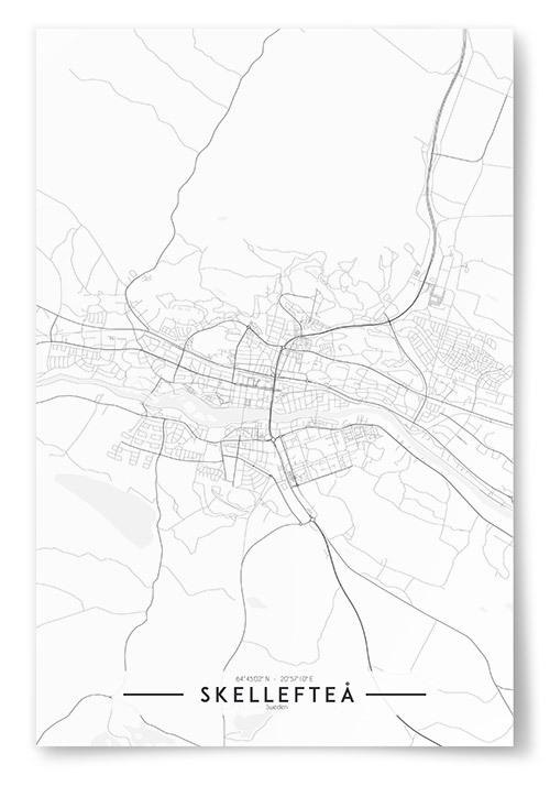 Poster Skellefteå Karta Svartvit