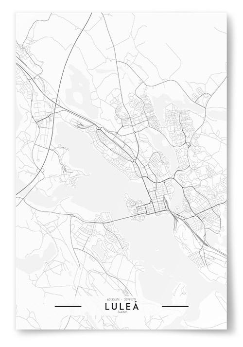 Poster Luleå Karta Svartvit