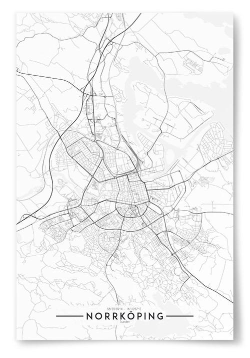Poster Norrköping Karta Svartvit