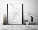 Poster Trollhättan Karta Svartvit