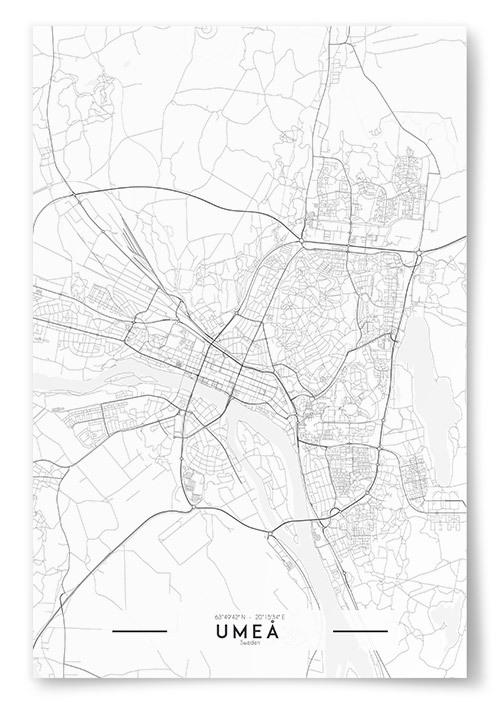 Poster Umeå Karta Svartvit