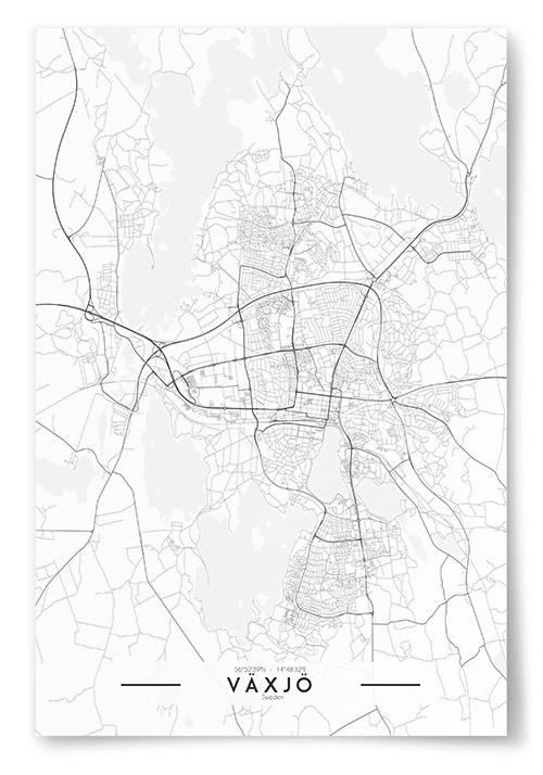 Poster Växjö Karta Svartvit