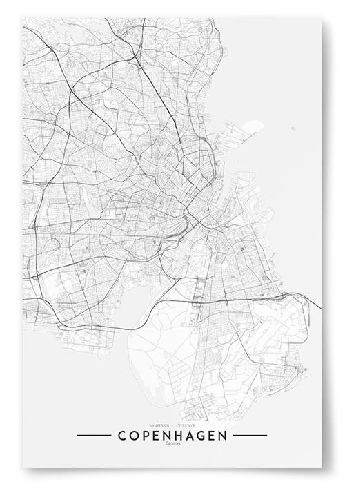 Poster Copenhagen Karta Svartvit