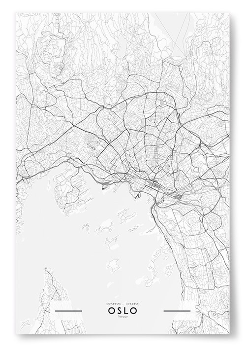 Poster Oslo Karta Svartvit