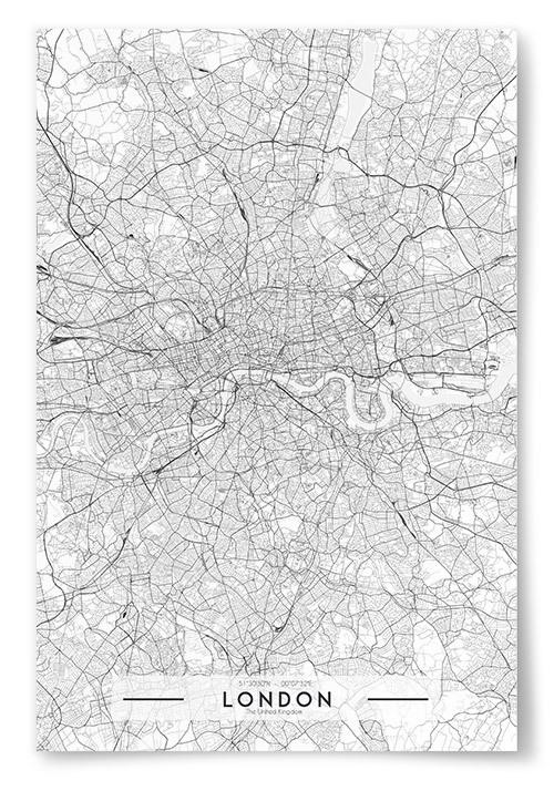 Poster London Karta Svartvit