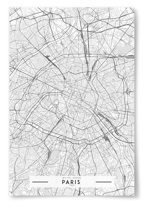 Poster Paris Karta Svartvit