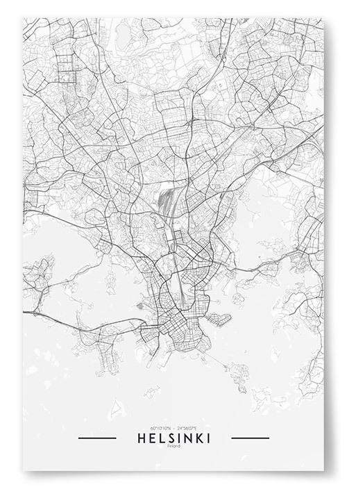 Poster Helsinki Karta Svartvit