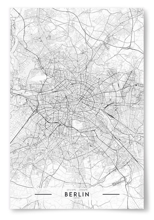 Poster Berlin Karta Svartvit