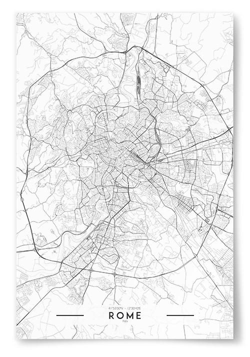 Poster Rome Karta Svartvit