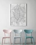 Poster Madrid Karta Svartvit