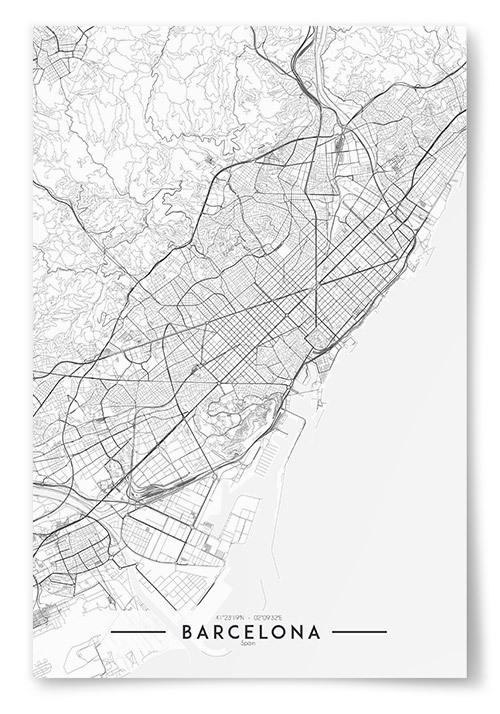 Poster Barcelona Karta Svartvit