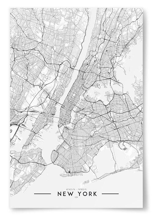 Poster New York Karta Svartvit