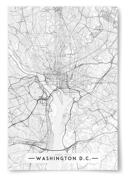 Poster Washington D.C. Karta Svartvit
