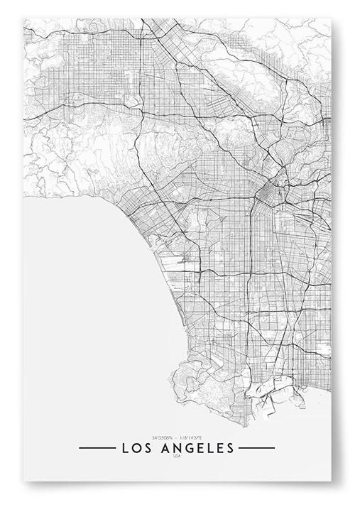 Poster Los Angeles Karta Svartvit