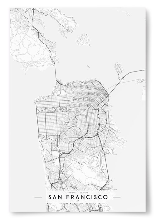 Poster San Francisco Karta Svartvit