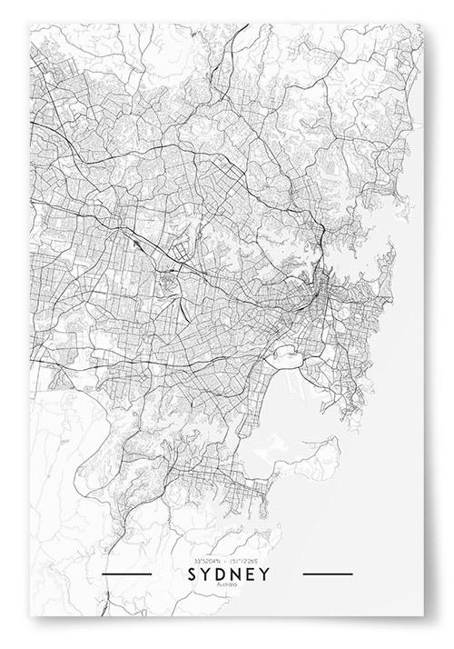 Poster Sydney Karta Svartvit