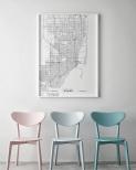 Poster Miami Karta Svartvit